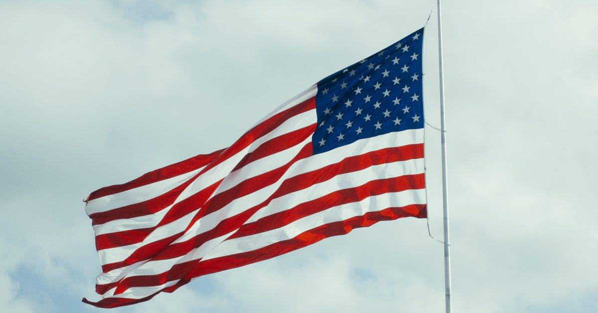 U.S.A. flag with pole
