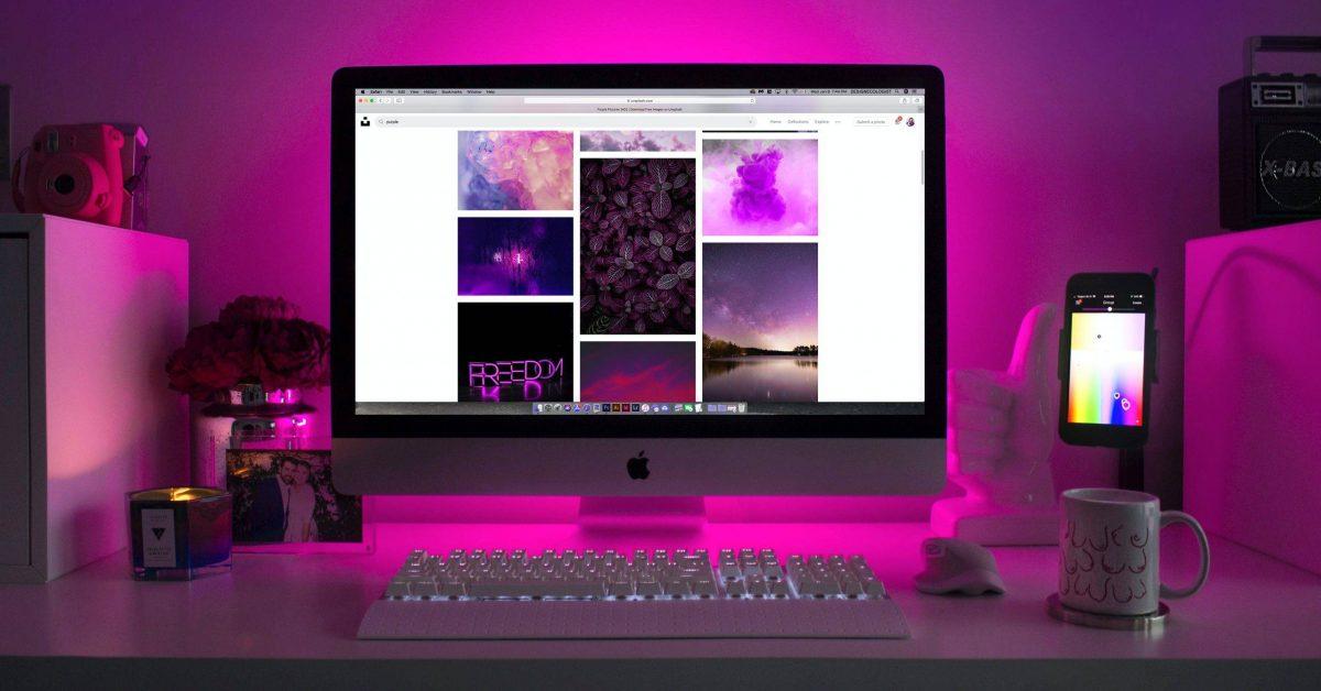 turned-onsilver iMac