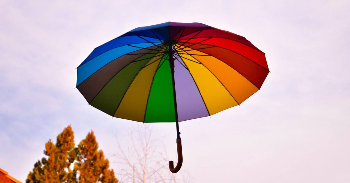 blue yellow and red umbrella